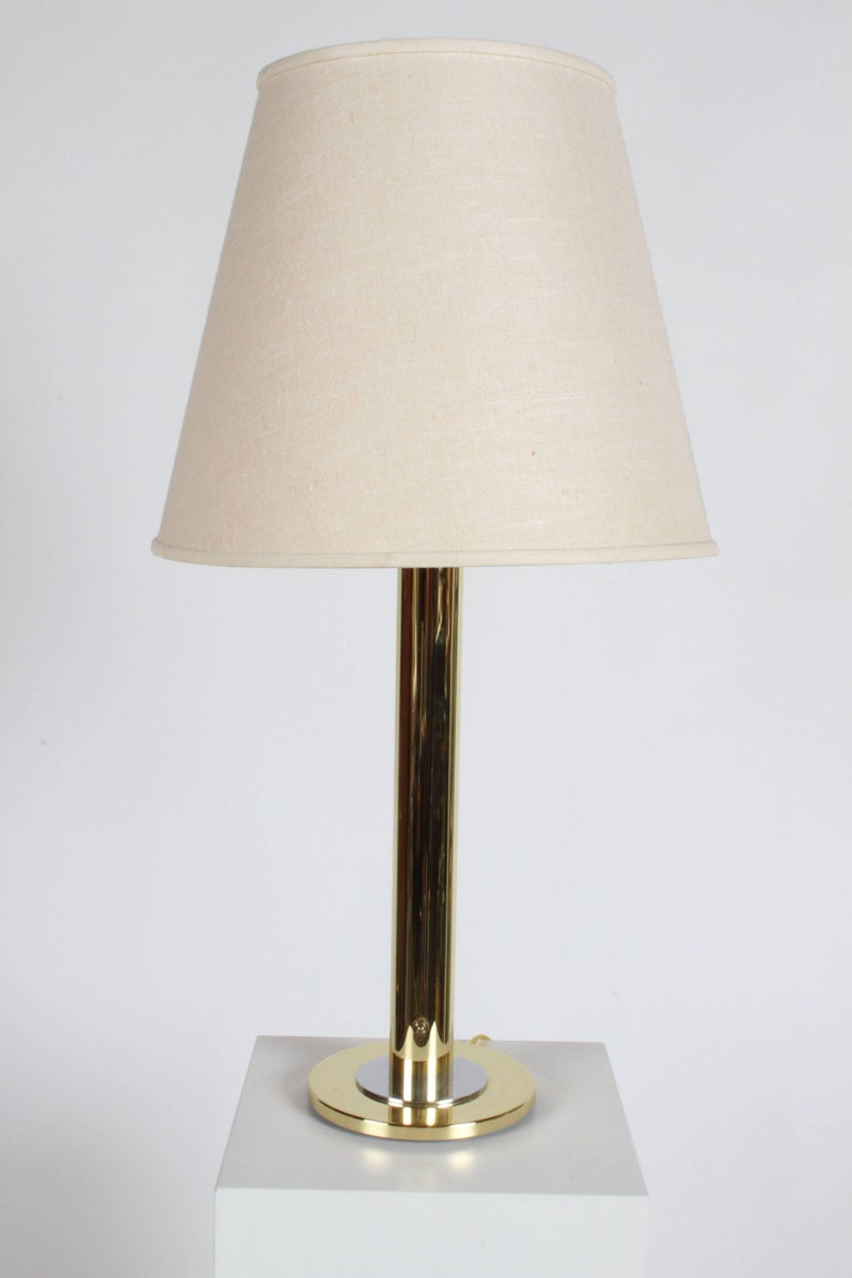 Pair of Nessen NT754 Polished Brass and Chrome Table Lamps For Sale 1