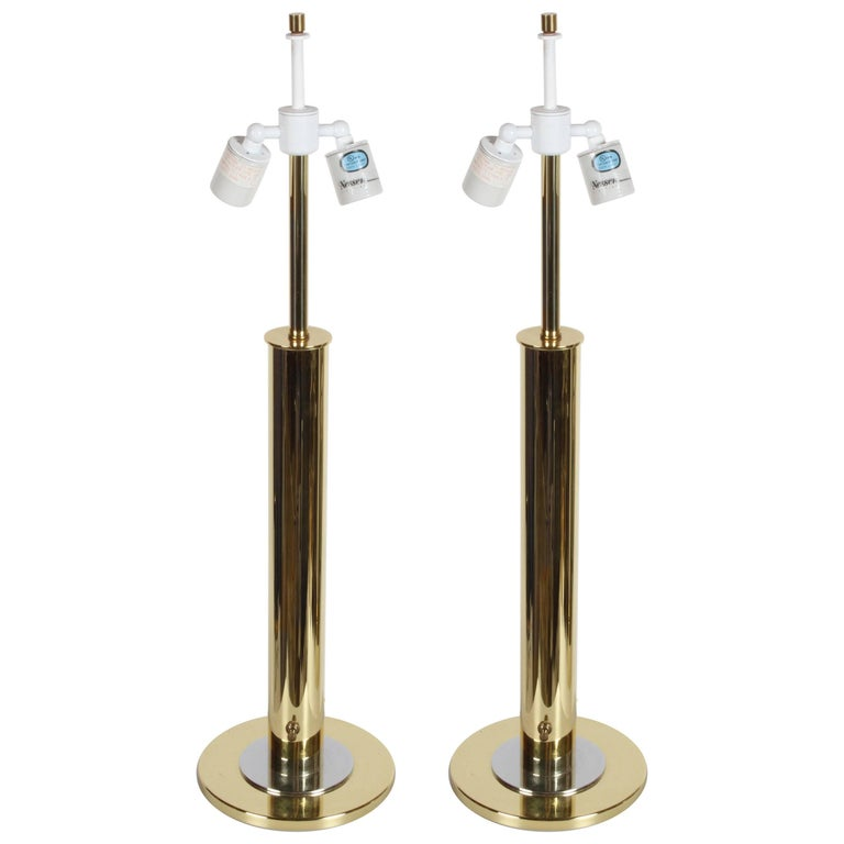 Pair of Nessen NT754 Polished Brass and Chrome Table Lamps For Sale