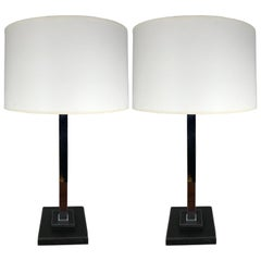 Pair of Nessen Studios Leather and Chrome Table Lamps