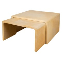 Pair of Nesting Parchment Coffee Tables, Contemporary