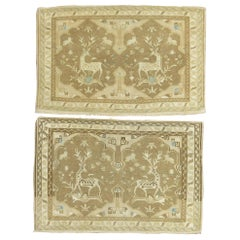 Pair of Neutral Tabriz Pictorial Reindeer Mats