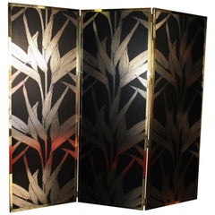 """Pair of New Black and Gold Screens Belle Époque Style """"Papyrus"""" Design & Raffia"""