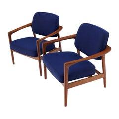 Pair of New Blue Upholstery Teak Danish Mid-Century Modern Arm Lounge Chairs
