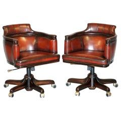 Pair of New David Linley Office Swivel Armchairs Hand Dyed Leather