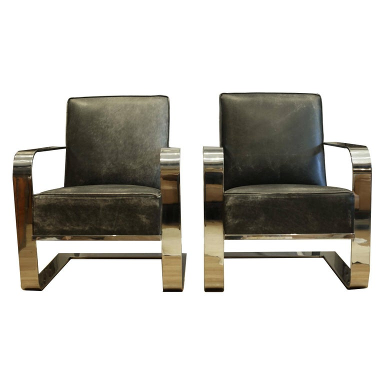 Pair Of New Distressed Leather And Chrome Ralph Lauren