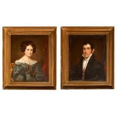 Pair of New England Portraits Calvin and Elizabeth Forbush, c.1835