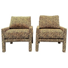 Pair of New Milo Baughman Style Iconic Parsons Chairs in Leopard Chenille
