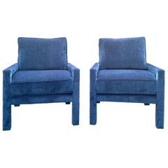 Pair of New Milo Baughman Style Iconic Parsons Chairs, Pantone Blue Velvet