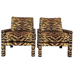 Pair of New Milo Baughman Style Parsons Chairs in Designer Tiger Fabric