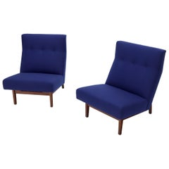 Pair of New Navy Blue Wool Upholstery Lounge Slipper Chairs