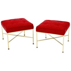 Pair of New Red Upholstery Square Brass Frames Benches Stools by Paul McCobb