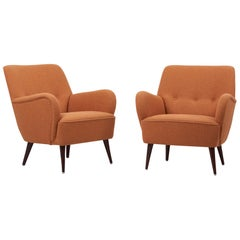 Pair of New Upholstered Lounge Chairs, Germany, 1950s