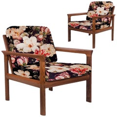 Pair of New Velvet Floral Upholstered Sculptural Easy Chairs by Sven Ellekaer