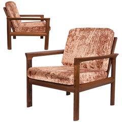 Pair of New Velvet Upholstered Sculptural Easy Chairs by Sven Ellekaer, 1960s