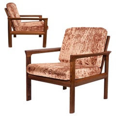 Pair of New Velvet Upholstered Sculptural Easy Chairs by Sven Ellekaer, 1960s
