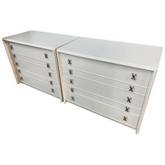 Pair of Newly Lacquered White Paul Frankl Dressers Chests of Drawers John Stuart