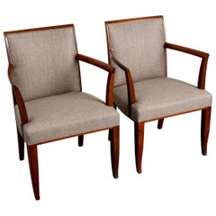 Pair of Newly Restored Art Deco Style Mahogany Armchairs