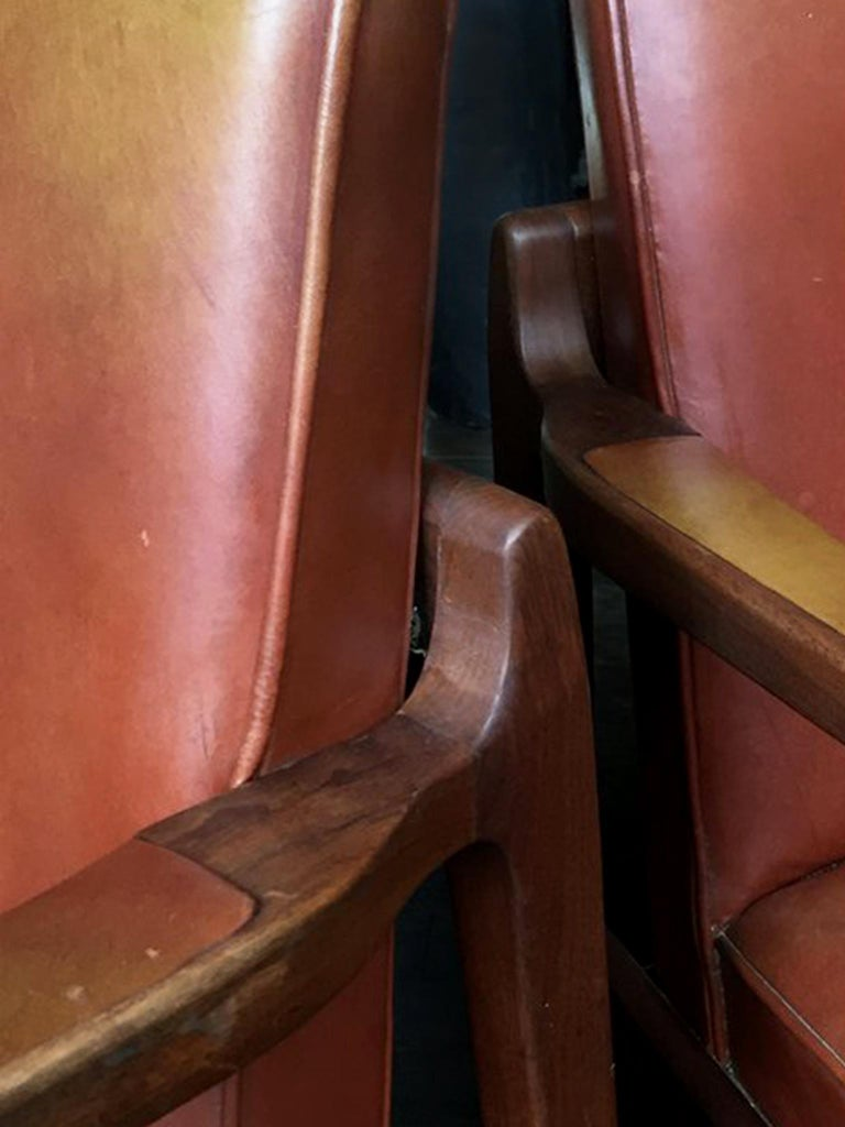 Pair of Newly Restored Midcentury Leather Armchairs in the Style of Jens Risom For Sale 6