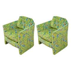 Pair of Newly Upholstered Barrel Back Chairs with Yellow Velvet with Bird Motifs