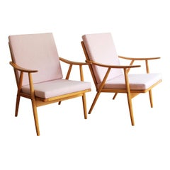 Pair of Newly Upholstered Midcentury Armchairs by Antonin Suman for TON