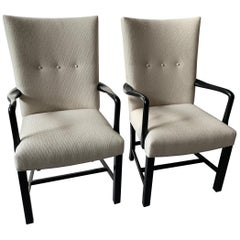 Pair of Newly Upholstered Midcentury Danish Ebonized Armchairs