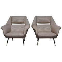 Pair of Newly Upholstered Midcentury Chairs by Gigi Radice for Minotti