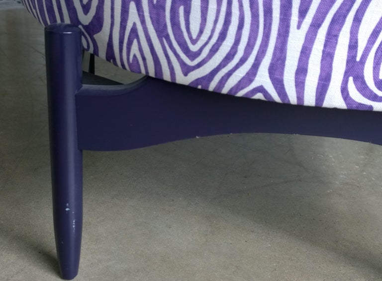 Pair of Newly Upholstered Purple & White Animal Print Barrel Back Lounge Chairs For Sale 4