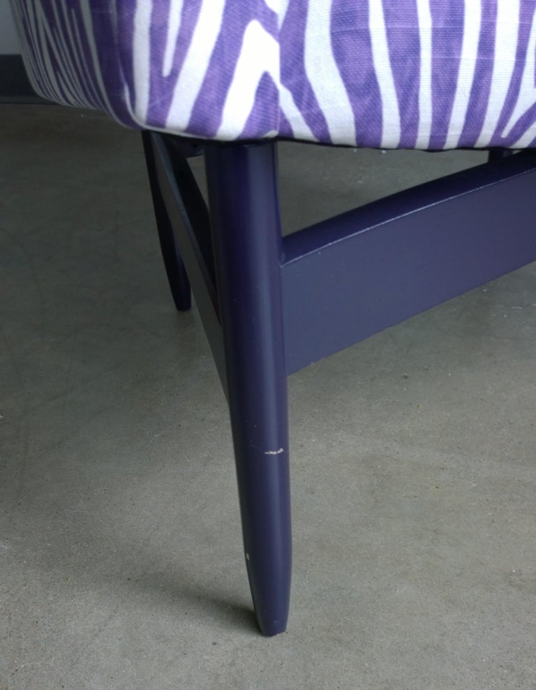Pair of Newly Upholstered Purple & White Animal Print Barrel Back Lounge Chairs For Sale 6