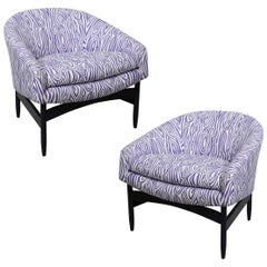 Pair of Newly Upholstered Purple & White Animal Print Barrel Back Lounge Chairs