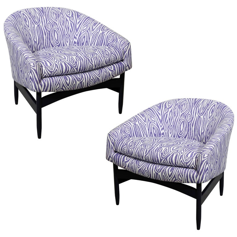 Pair of Newly Upholstered Purple & White Animal Print Barrel Back Lounge Chairs For Sale