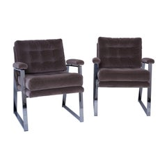 Pair of Newly Upholstered Vintage Midcentury Tufted Chairs with Chrome Base