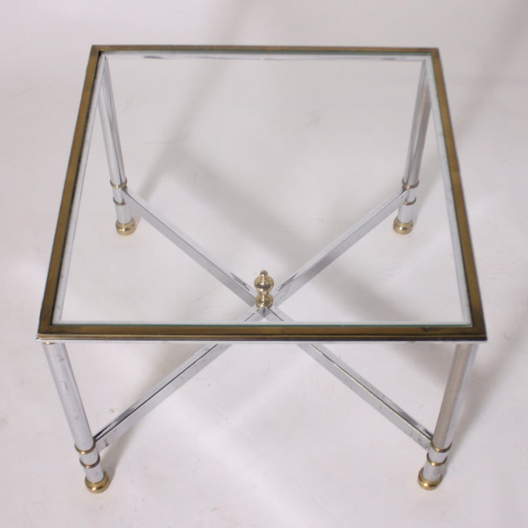French Pair of Nickel and Brass Tables, circa 1950 For Sale