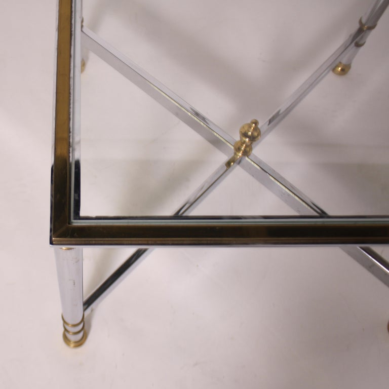 Pair of Nickel and Brass Tables, circa 1950 In Good Condition For Sale In Dallas, TX