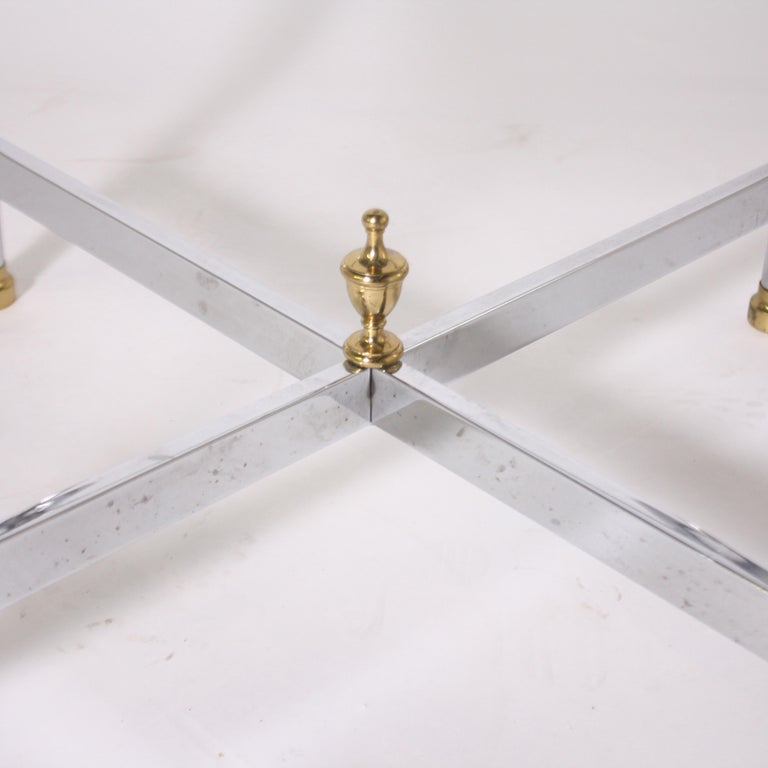 Mid-20th Century Pair of Nickel and Brass Tables, circa 1950 For Sale