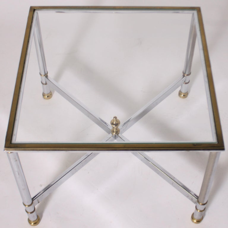 Pair of Nickel and Brass Tables, circa 1950 For Sale 1