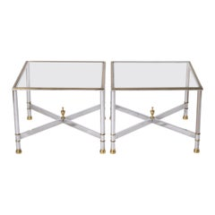 Pair of Nickel and Brass Tables, circa 1950