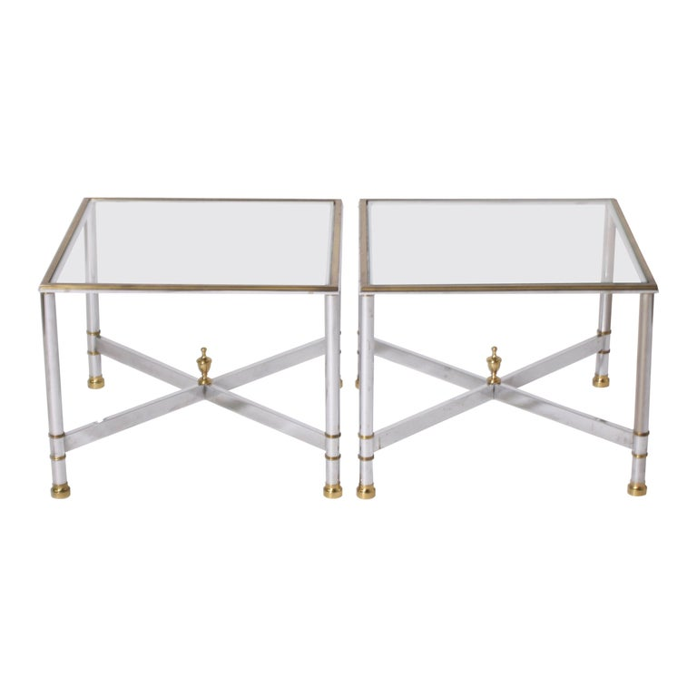 Pair of Nickel and Brass Tables, circa 1950 For Sale