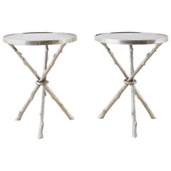 Pair of Nickel and Granite Faux Bois Tripod Drink Tables