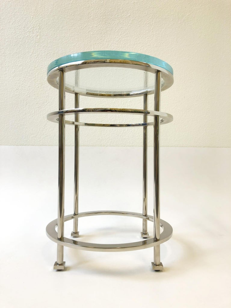 Pair of Nickel and Lucite Side Tables by Jean Michel Wilmotte for Mirak 3