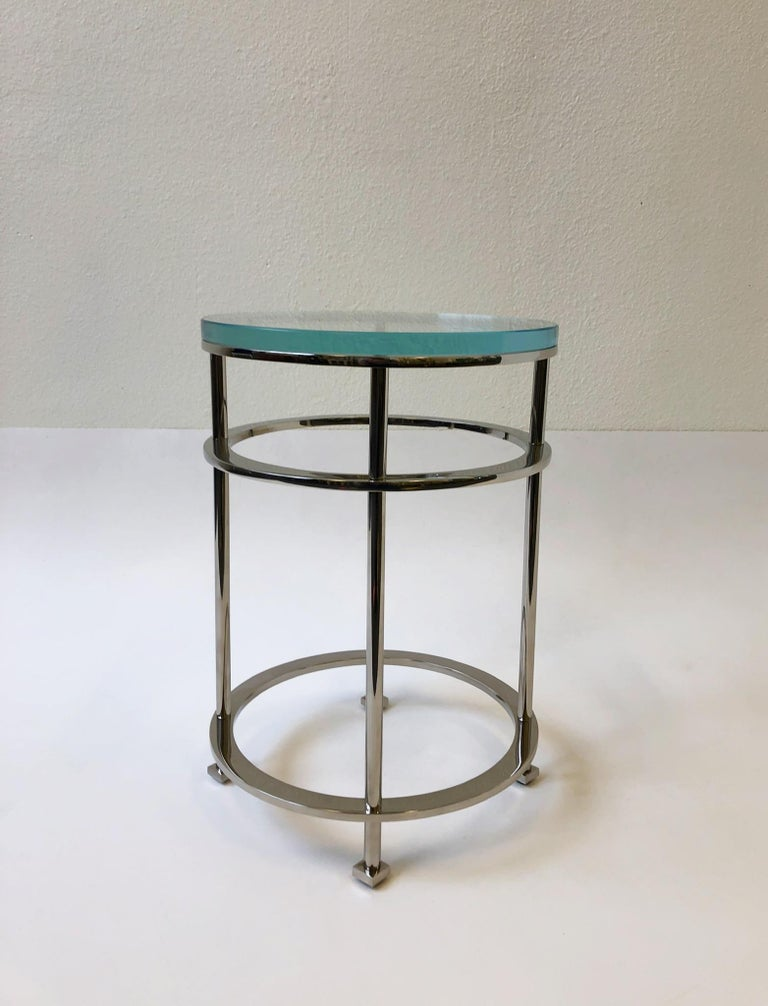 Pair of Nickel and Lucite Side Tables by Jean Michel Wilmotte for Mirak 4