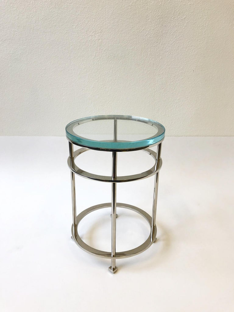 Pair of Nickel and Lucite Side Tables by Jean Michel Wilmotte for Mirak 5