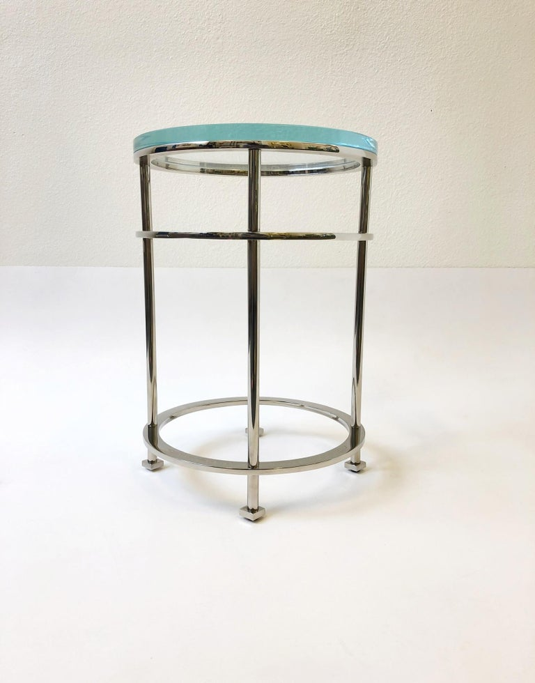 Pair of Nickel and Lucite Side Tables by Jean Michel Wilmotte for Mirak 6