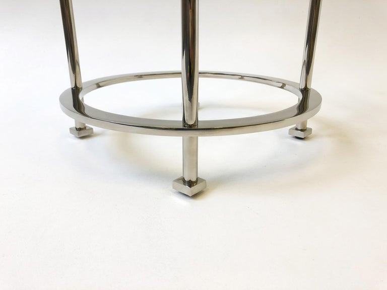 Pair of Nickel and Lucite Side Tables by Jean Michel Wilmotte for Mirak 7