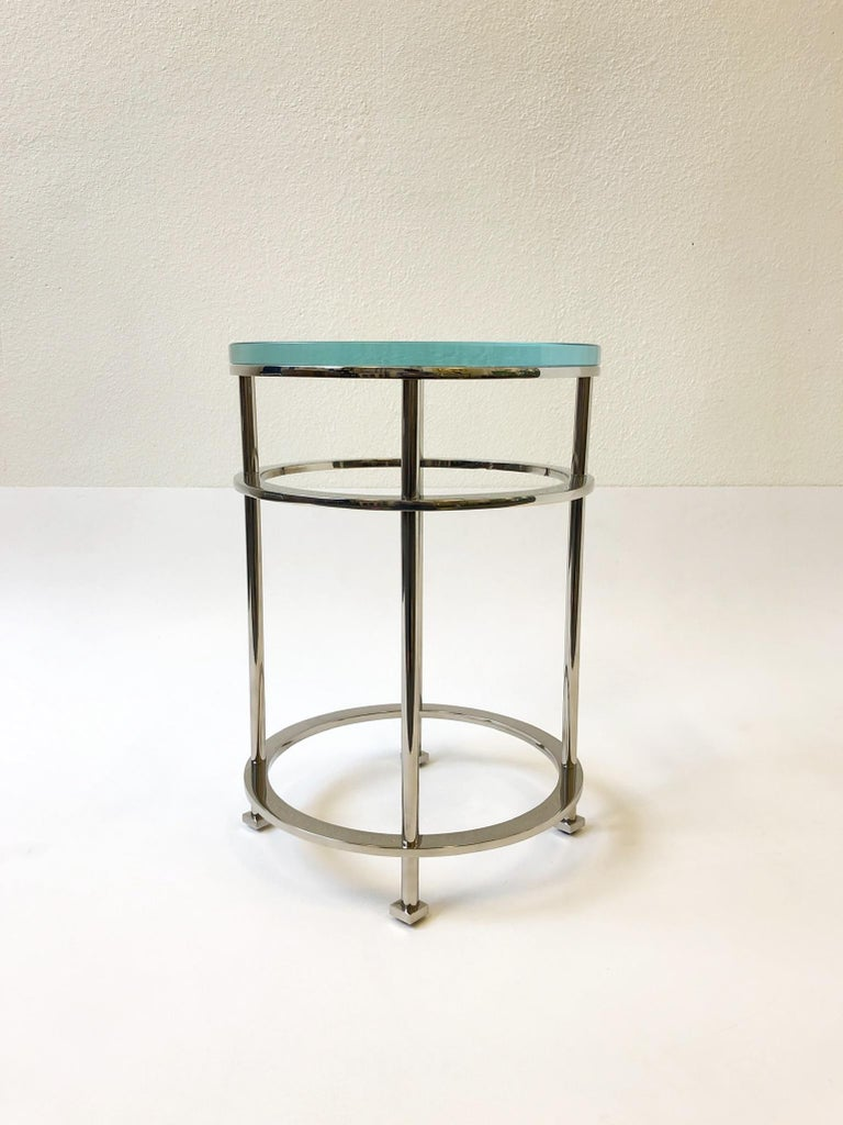 Pair of Nickel and Lucite Side Tables by Jean Michel Wilmotte for Mirak 8
