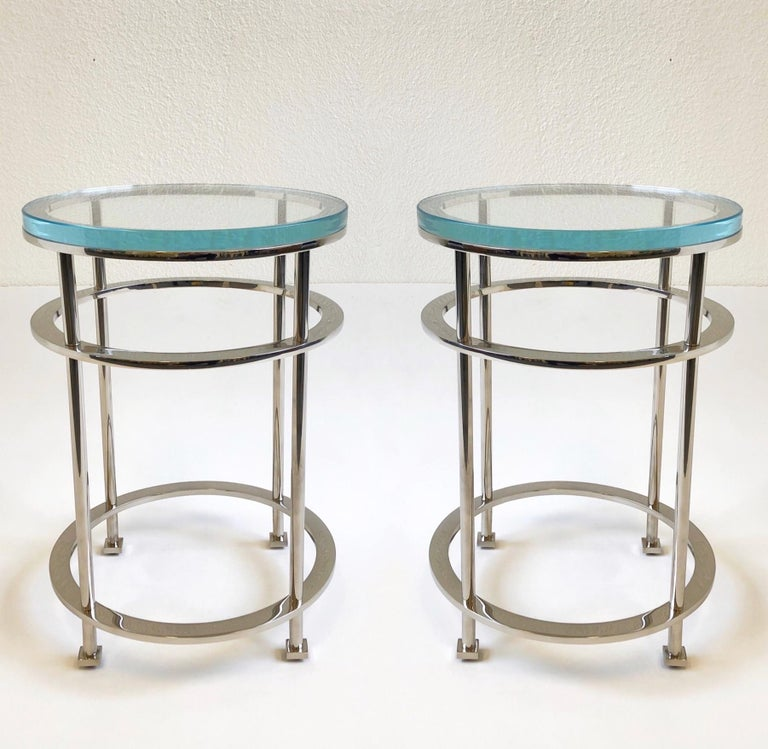 Pair of Nickel and Lucite Side Tables by Jean Michel Wilmotte for Mirak 9