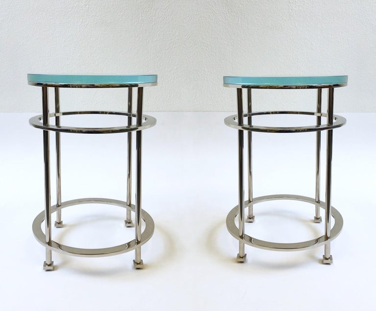 Modern Pair of Nickel and Lucite Side Tables by Jean Michel Wilmotte for Mirak