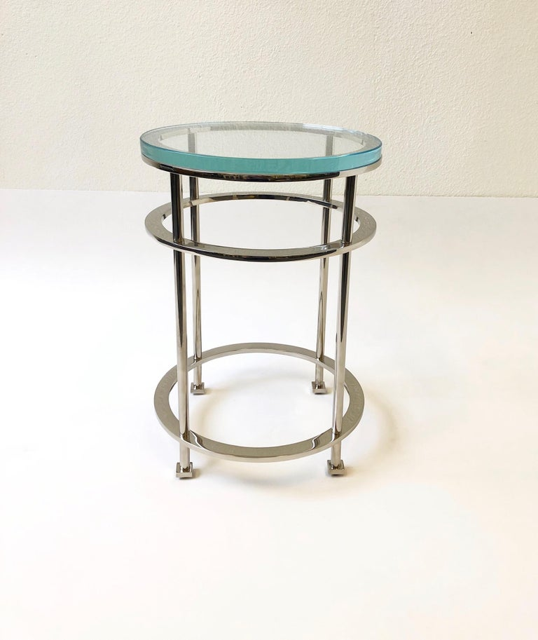 American Pair of Nickel and Lucite Side Tables by Jean Michel Wilmotte for Mirak
