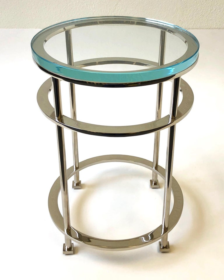 Polished Pair of Nickel and Lucite Side Tables by Jean Michel Wilmotte for Mirak