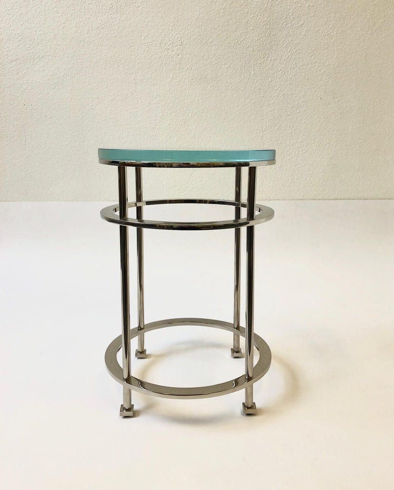 Pair of Nickel and Lucite Side Tables by Jean Michel Wilmotte for Mirak In Excellent Condition In Palm Springs, CA