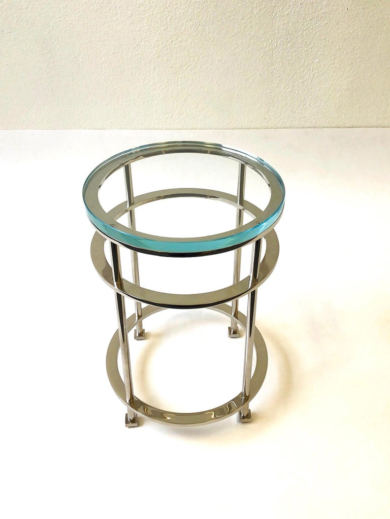 Late 20th Century Pair of Nickel and Lucite Side Tables by Jean Michel Wilmotte for Mirak